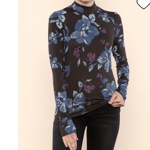 Free People Mock Neck Floral Top size Small nwot
